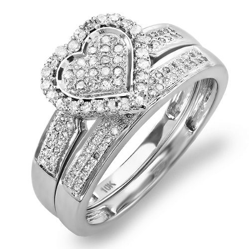 0.40 Carat (ctw) 10k White Gold Round Diamond Ladies Bridal Heart Shape Ring Engagement Set Matching Band