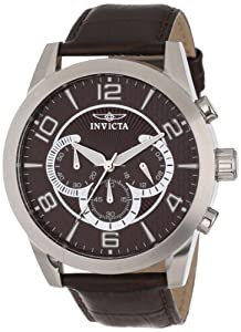 Invicta Men's 13634 Specialty Chronograph Brown Textured Dial Brown Leather Watch