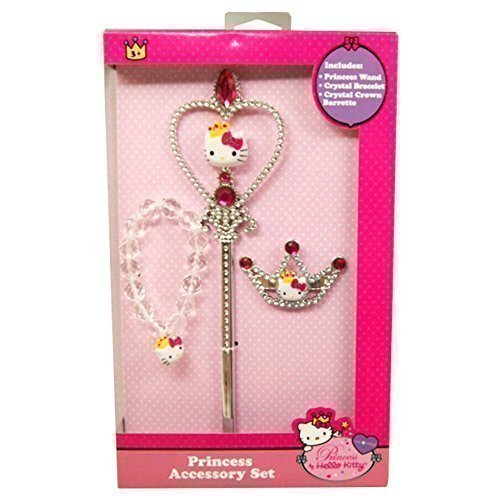Princess Accessory Set, Princess Wand, Crystal Bracelet, Crystal Crown and Barrette