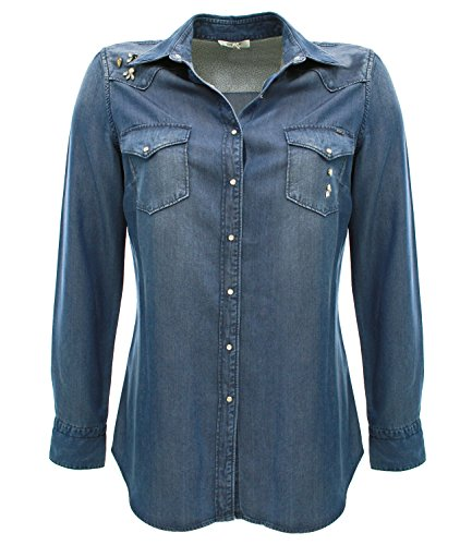 JOMOTOL324 Kocca Camicia di jeans Blu S Donna