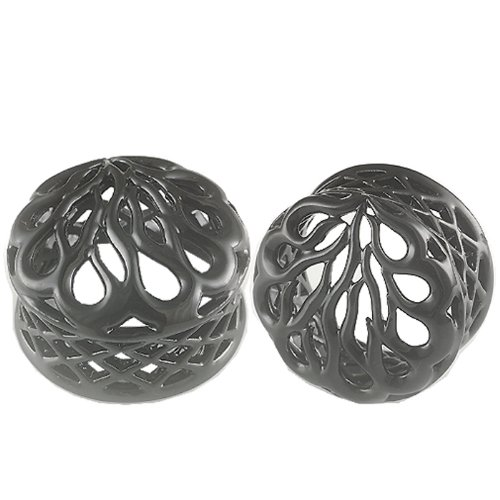 1 1/16 Inches Gauges (28mm) - Black Alloy Double Flared Flare Ear Plugs Flesh Tunnels Earlets AFXW - Ear stretched Stretching Expanders Stretchers - Pierced Body Piercing Jewelry BKT-023 - Sold as a Pair