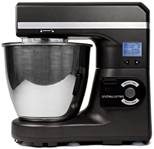 Andrew James Large 7 Litre Automatic Black Food Stand Mixer - Includes 2 Year Warranty, Powerful Motor, 7 Automatic settings, Digital Control and LCD Display + 128 Page Food Mixer Cookbook