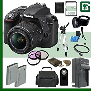 Nikon D3300 CMOS DSLR Camera Green's Camera Bundle