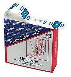 Pendaflex Alphabetic Color-Coded EndTab Label, Alpha O, Blue