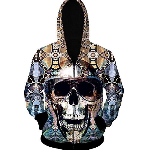 Herebuy8 Men's Hooded Sweater 3D Skull Print Zipper Cardigan Hoodie (2XL, Glasses Skull)