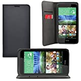 iProtect HTC Desire 320 Kunstleder Tasche im Bookstyle schwarz Schutzhülle mit integriertem Magnetverschluss