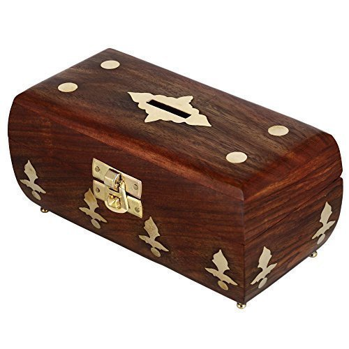 Antique Design Handcrafted Box In Wood Money Bank For Adults 5.5X2.5X2.5 Inch