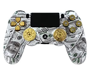 """Money Talks"" Ps4 Custom Modded Controller ShotGun Thumb Sticks w/ Real Gold 9mm Bullet Casing for Triangle, Square, Circle & X Buttons and Gold D-pad for Cod Series"