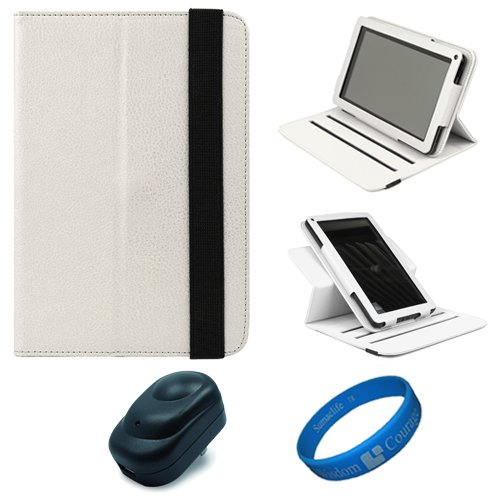 White Textured Leather Folio Case Cover with Fold to Stand Feature for  Kindle Fire 7 LCD Display, Wi Fi, 8GB Android Tablet Designed for 2011 and 2012 Models + Black USB Wall / Home Charger + SumacLife TMWisdom Courage Wristband
