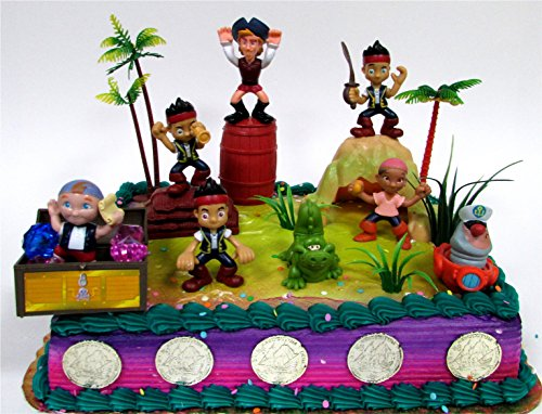 Jake and the Never Land Pirates 20 Piece Birthday CAKE Topper Set Featuring Figures and Decorative Themed Accessories, Figures Average 2
