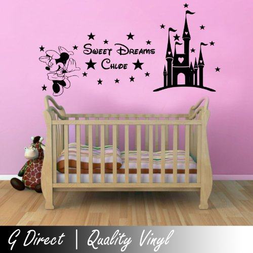 Personalised Sweet Dreams Princess Minnie Mouse Wall Sticker Girls Bedroom Decal 100X55 front-115860