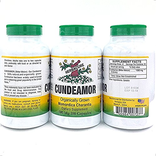 Cundeamor 500 mg - Mamordica Charantia - Organically Grown - 100 Capsules