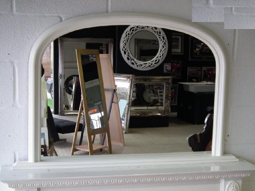 Classic French Inspired WHITE Overmantle Mirror With Elegant ARCHED Frame complete with Premium Quality Pilkington's Glass - Overall Size: 31 inches x 47 inches (78cm x 122cm)