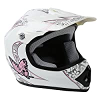 TCMT Dot Youth & Kids Motocross Offroad Street Helmet Pink Butterfly Motorcycle Helmet White Dirt Bike Dirt Bike Helmet+Goggles+gloves M from TCMT