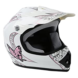 TCMT Dot Youth & Kids Motocross Offroad Street Helmet Pink Butterfly Motorcycle Helmet White Dirt Bike Dirt Bike Helmet+Goggles+gloves M from TCMT