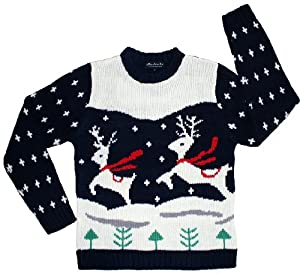 Ugly Christmas Sweater - Prancing Reindeer Holiday Sweater by Skedouche