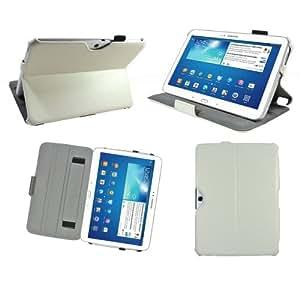 Housse luxe Samsung Galaxy Tab 3 10.1 pouces P5200 / P5210 / P5220 16 Go (Wifi/3G/4G) Ultra Slim Cuir Style blanche avec stand et fonction Smart Cover - Etui coque de protection Samsung Galaxy Tab 3 10.1 GT-P5200 / GT-P5210 / GT-P5220 blanc - Prix découverte accessoires pochette XEPTIO : Exceptional case ! (PU Cuir)