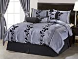 """7 Pieces Grey and Black Embroidery Floral Comforter 90"""" X 92"""" bed-in-a-bag  ...."""