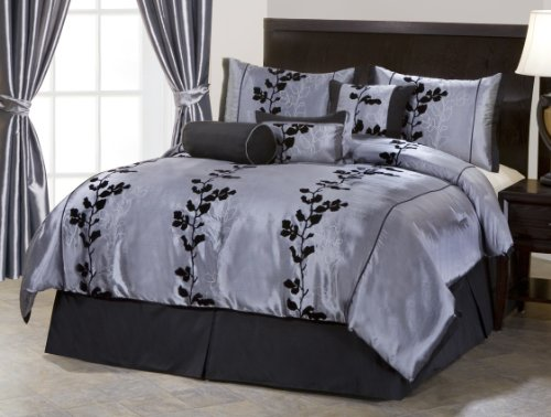 7 Pieces Grey and Black Embroidery Floral Comforter 90