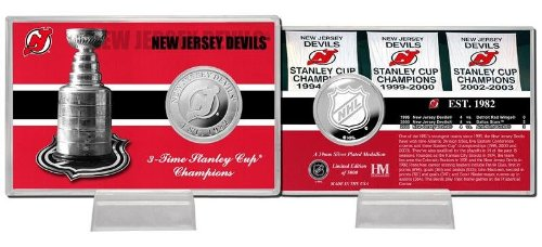"NHL New Jersey Devils Stanley Cup ""History"" Silver Coin Card"