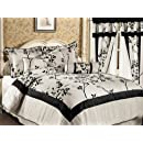7 Pieces Ivory And Black Luxury Bamboo Branch Comforterbed In A Bag Set Queen Size Bedding