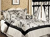 7 Pieces Ivory and Black Luxury Bamboo Branch Comforter/bed-in-a-bag Set Queen Size Bedding