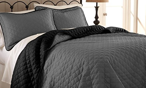 Pct Reversible Two-Tone Solid Color 3-Piece Coverlet Set Black, Grey King