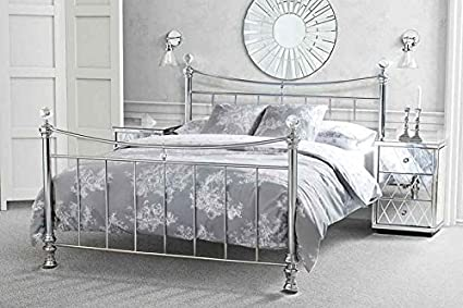 MY-Furniture - 5ft King size Nickel Iron / Metal bed Chrome Plated Crystal finials Modern style - Waterford from My-Furniture