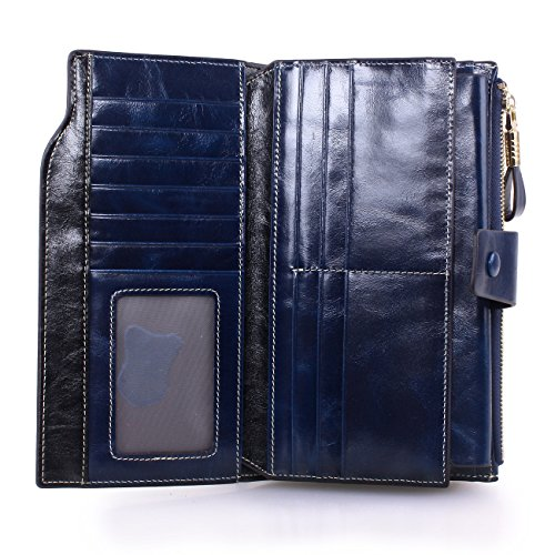 04. Women's Large Capacity Luxury Wax Genuine Leather Wallet with Zipper Pocket