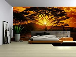 Wallpaper mural 39 39 african sunset 39 39 fleece photo wallpaper for African sunset wall mural