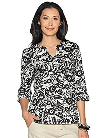 M&Co Ladies Cropped Sleeve Hibiscus Tahiti Floral Print Lightweight Cotton Shirt Multicolour 10
