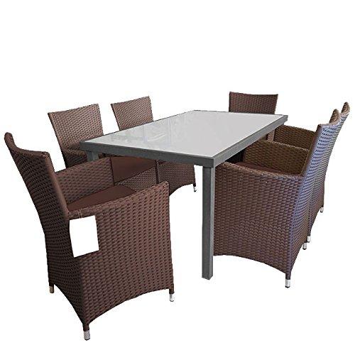 7tlg. Sitzgruppe Gartengarnitur Alu/Glas 150x90cm + Rattansessel Br/Br - Terrassenmöbel Gartenmöbel