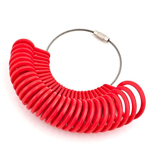 Charmed Craft Red Finger Size Measuring Ring-Ring Sizing Sizer Plastic Gauge Circle Model Jewelry (Ring Size Chart Online compare prices)
