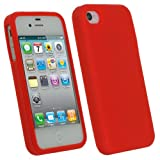 IGadgitz Red Silicone Skin Case Cover for Apple iPhone 4 HD & 4S 16GB 32GB 64GB + Screen Protector
