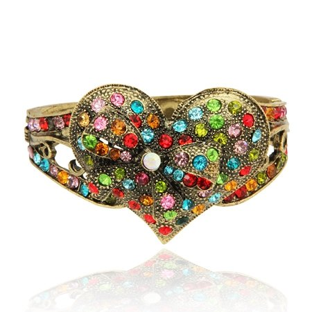MizEllie Costume Jewellery True Colours Of Your Heart Vintage Gold Tone Multicoloured Bangle Bracelet ,Can Make An Ideal Gift With Free Elegant Organza Jewellery Pouch