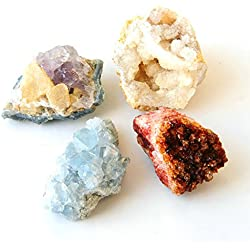 Natural Quartz Crystal Cluster Amethyst Citrine Celestine Geodes Stones with Gem Fire Energy, Gemstone Druzy Geode Pieces Specimen Point Rocks and Minerals, Set of 4