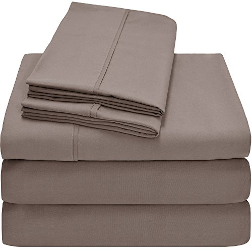 Premium 1800 Ultra-Soft Microfiber Collection Split King Sheet Set, Hypoallergenic, Easy Care, Wrinkle Resistant, Deep Pocket (Split King, Taupe) (Split California King Bed Sheets compare prices)