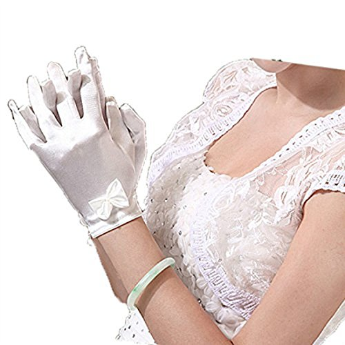 Linabridal Women's Bridal Gloves Short Satin Fingers Wedding Gloves Line White