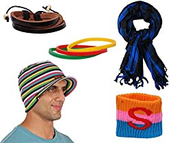 Sushito Fancy Multi Colour Winter Protect Beanies Cap With Stylish Headwrap & Wrist Band