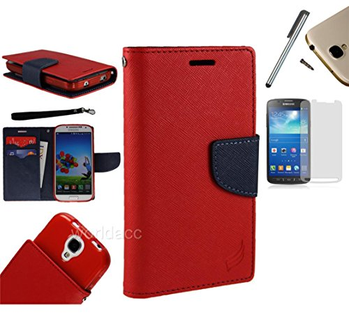 For Htc One Sv (Cricket Boost Mobile) Pu Leather Flip Cover Folio Book Style Pouch Card Slot Myjacket Wallet Case + [World Acc] Tm Brand Lcd Screen Protector + Silver Stylus Pen + Black Dust Cap Free Gift (Pu Leather Wallet Red / Navy Blue)