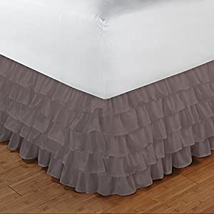 600TC 100% Egyptian Cotton Elegant Finish 1PCs Multi Ruffle Bedskirt Solid (Drop Length: 16 inches) 51 2BiaYsfFiL