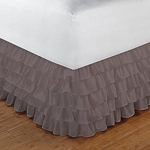 400TC 100% Egyptian Cotton Elegant Finish 1PCs Multi Ruffle Bedskirt Solid (Drop Length: 28 inches) 51 2BiaYsfFiL