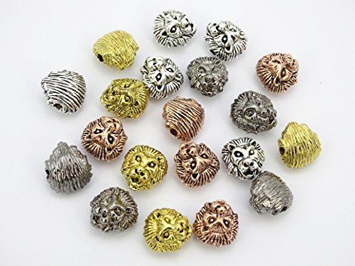 jennysun2010in metallo testa di leone braccialetto collana Collegamento Charm argento oro rosa 10203050100per borsa per braccialetto collana orecchini gioielli artigianato design, Randomly Mixed, 100 pezzi