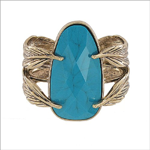 JOA Facet Stone W Leaf Design Hinged Bracelet #041177