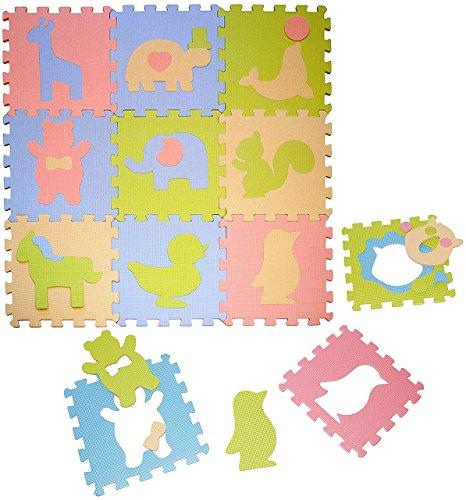 Set: Puzzle Teppich aus Mossgummi - 9 Matten & verschiedene Tiere - zum puzzeln / Puzzleteppich EVA - Spieleteppich Puzzlematte - Spielmatte Kinderteppich - Bodenmatte - Matte / Spielteppich - für Kinder - Puzzleteppich - Kinderspielteppich / Lernteppich - Schaumstoff / Bodenschutzmatte - Tier Giraffe