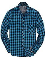 Men Chic Western Point Collar Check Pattern Button Down Flannel Shirt