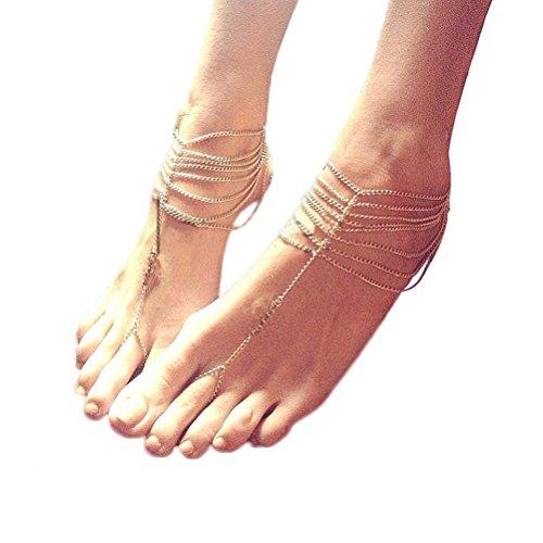 LEORX Spiaggia sandali a piedi nudi piedi cavigliera catena donne