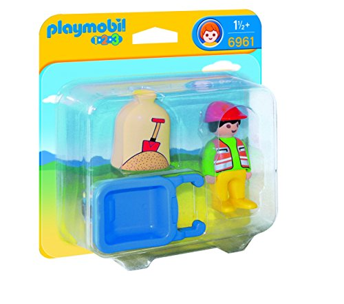 PLAYMOBIL Worker with Wheelbarrow Building Kit