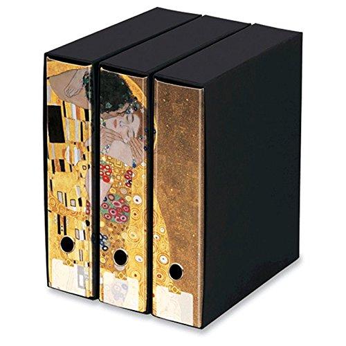 KAOS - Set da 3 raccoglitori ad anelli dorso 8 - IL BACIO, KLIMT - Misure Set: 26.8x35x29 cm