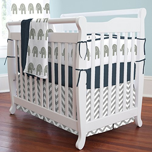Navy And White Crib Bedding 8080 front